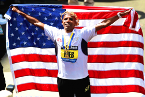 Meb wins at Boston photo